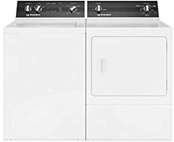 Speed Queen White Electric Laundry Pair with TR3000WN 26  Top Load Washer and DR3000WE 27  Front Load Electric Dryer