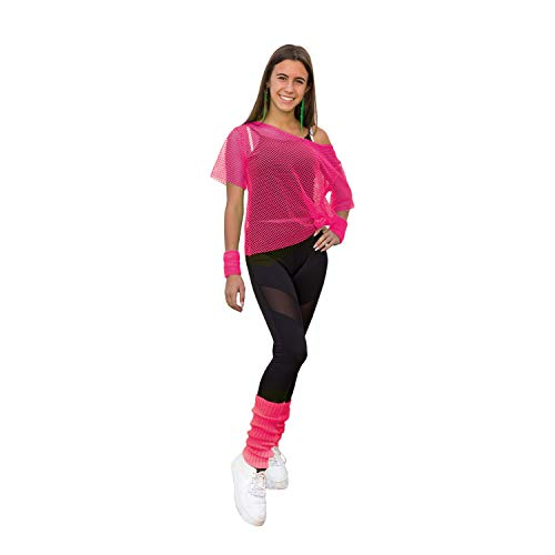 Oblique Unique® Netzshirt + Stulpen Set 2-teilig Neon Pink für Damen 80er Jahre 80s Achtziger Netztop Strümpfe für Karneval Fasching Kostüm Motto Party