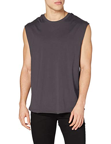 Urban Classics Open Edge Sleeveless tee Camiseta, Gris Oscuro, XL para Hombre