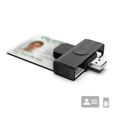 Lettore di Smart Card USB Portatile,Lettore Carta identita Elettronica Dod Military Common Access Card(CAC ID IC Bank Tessera Sanitaria Adattatore Compatibile con Windows XP Vista 7 8 11, Mac OS