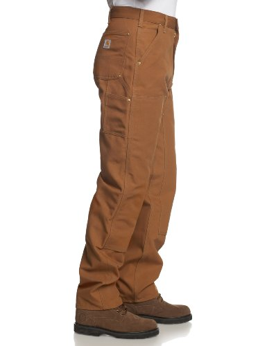 Carhartt Men's Firm Duck Double-Front Work Dungaree Pant B01, Brown, 36W X 34L