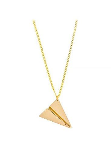 J.T.Hatched Collar de avión de papel, regalo de viaje, chapado en oro de 18 quilates