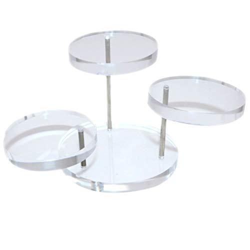 Happyyami Acryl Schmuck Display Steht mit DREI Kreisförmigen Schichten Rotierenden Ringen Halter Schmuck Veranstalter für Messen Vitrinen Sechseck Basis Transparent