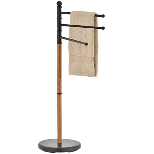 MyGift 40-Inch Freestanding Black Steel Bathroom 3 Swivel Arm Towel Rack Stand with Oak Wood-Tone Finish