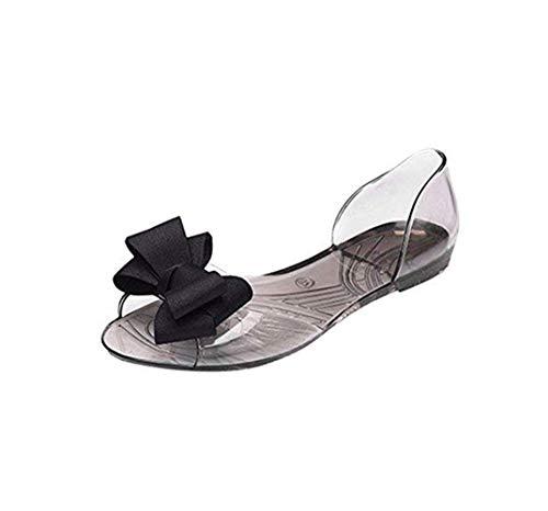 Offener Slippers Damen Elegante Flache Strandschuhe Transparent Sandaletten Hausschuhe Crystal Peeptoe Sandalen Kristallsandalen Transparente Sandalen Mit Bogen Zehentrenner