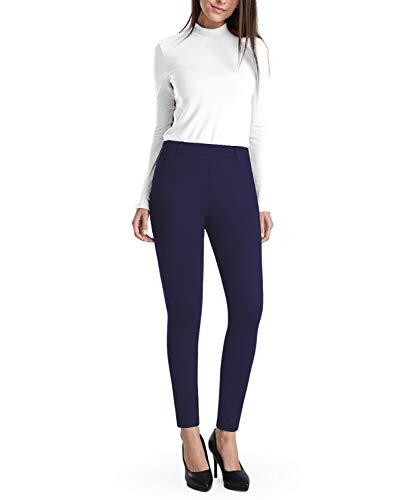 Balleay Art Women's Work Pull-On Straight Leg Yoga Dress Pants, Belt Loops, Dress Yoga Pants for Office, Long Workout Pants (Blue, X-Large)