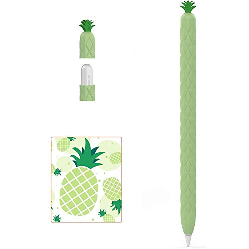 Cute Pineapple Pencil Case for Apple Pencil Silicone Sleeve for 2nd Generation Holder Protective Skin Cover Case Non-Slip Pencil Tip Cover for iPad (Color : Green)