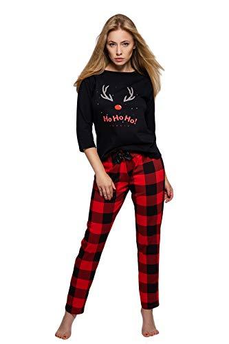 SENSIS stilvoller Baumwoll-Pyjama (Made in EU) Schlafanzug Hausanzug aus feinem T-Shirt und bequemer Hose (M, Schwarz/Rot Kariert)
