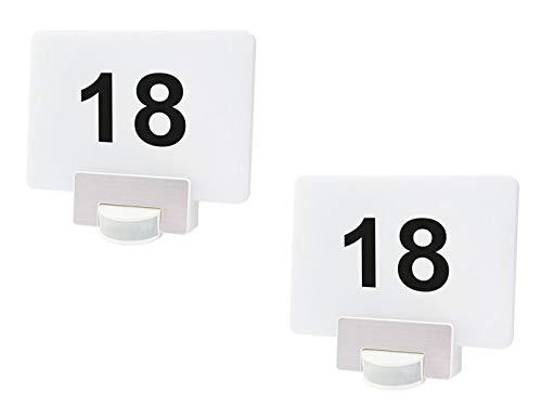 Link2Home - Juego de 2 luces LED multifuncionales para el número de casa con detector de movimiento, aplicaciones de iluminación de pared RGB