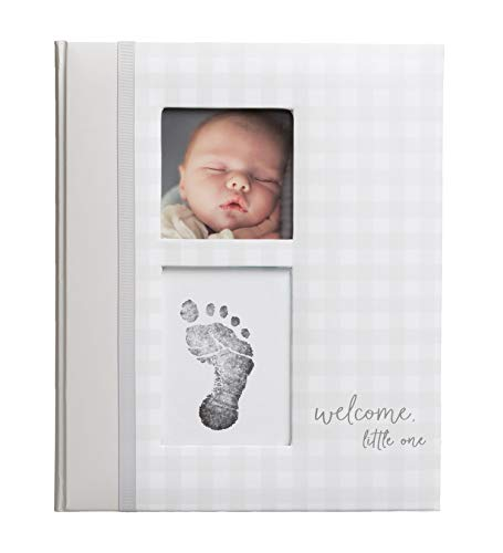 Pearhead Gingham Baby Memory Book and Clean-Touch Ink Pad, Gender Neutral Baby Gift, Baby Milestones Photo Album, Gray
