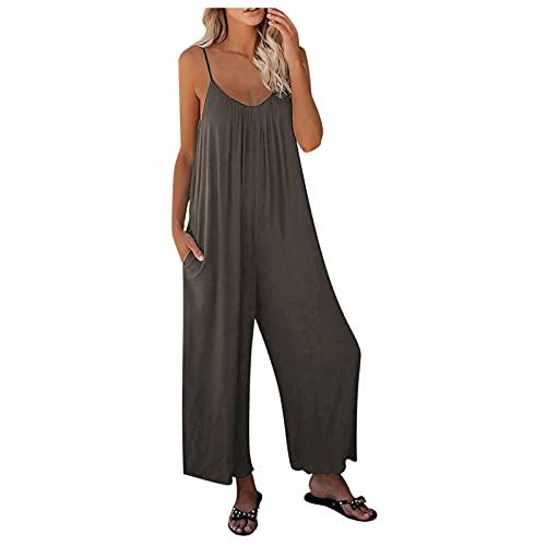 Pantalones Mono de Mujer, Monos Sueltos de Color sólido, Pantalones Casuales, Pantalones Casuales sin Mangas con Cuello Redondo, Mono cómodo con Tirantes Casuales