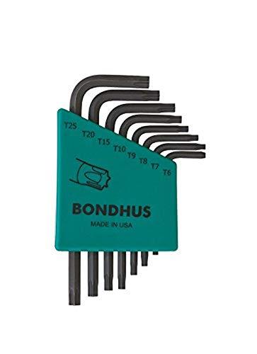 Bondhus 31732 Set of 8 Star L-wrenches, Short Length, sizes T6-T25