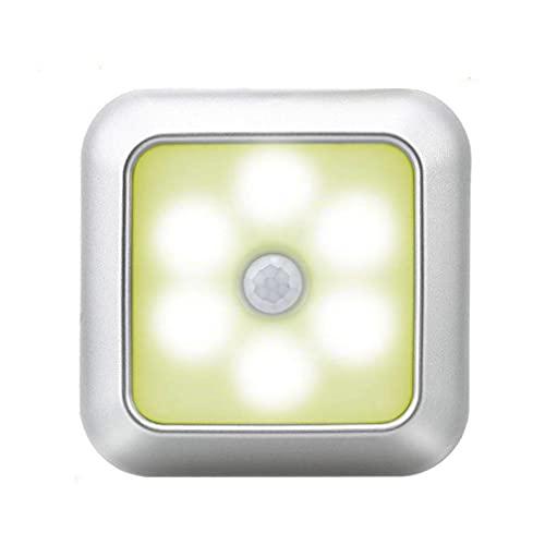 Llevó La Luz De La Noche Del Sensor De Movimiento Inteligente Con Pilas De La Luz Del Gabinete De La Lámpara De Noche Para Habitaciones Pasillo Con Concha De Plata Amarillo Luz Ambiental Luz