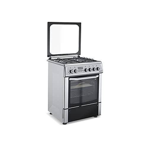 Taurus CIGE4FIXM - Cocina mixta independiente, acero inoxidable, cocción gas/horno eléct, gas butano/gas natural, 4 quemadores, horno 55L, temporizador digital, cristal doble, termostato, 60x60x88cm,