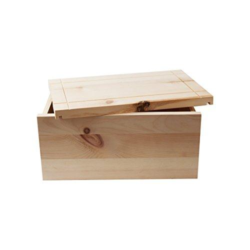 Hochwertige Brotdose aus massivem Zirbenholz - Brotkasten mit abnehmbarem Deckel inkl. Einlegegitter - 35x25x15,8 cm (LxBxH) - plastikfrei & nachhaltig - Handarbeit aus Österreich