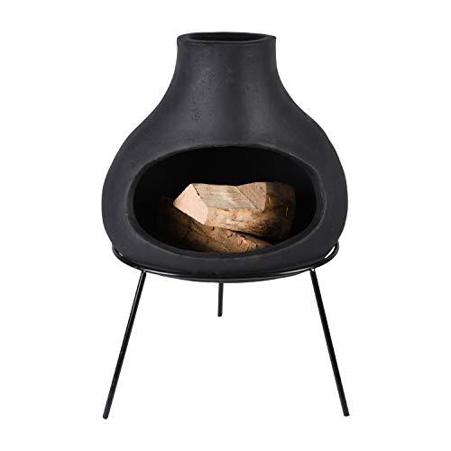 Esschert Design Ludi - Caminetto in Terracotta, Colore: Nero