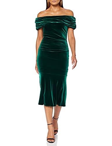 Gina Bacconi Damen Women's Stretch Velvet Dress Cocktailkleid, dunkelgrün, 46