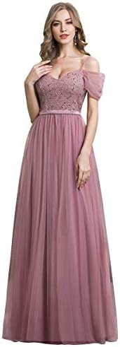 Ever Pretty Women s Sequin Short Sleeve A line Long Tulle Evening Dress for Weddings Orchid product image