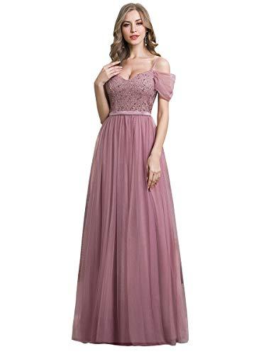Ever-Pretty Vestido de Dama de Honor Fiesta Largo para Mujer Hombros Caídos Tul A-línea Escote V Imperio Orquídea 38