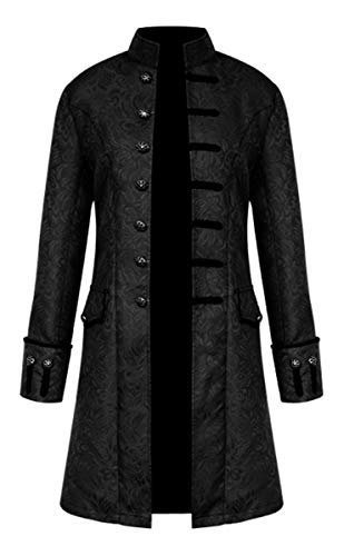 Gothic Steampunk jacket. Jacquard, long sleeve, knee length, decorative buttons. Stand collar, double breasted, two flat pockets, slim fit. Suitable for Medieval kings, princes, knights, Renaisssance or Victorian characters. Perfect for Holloween, ma...