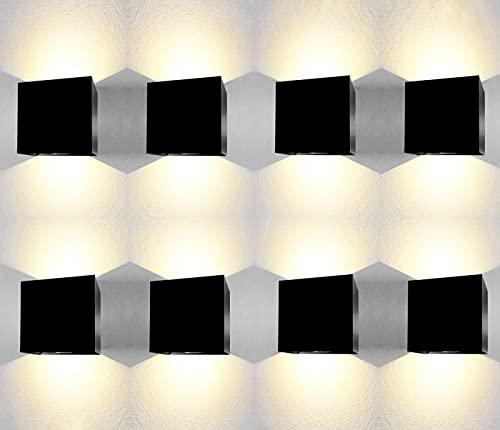 Applique da esterno led parete 12W impermeabile IP65 luce bianca calda 3000K applique esterno aplique da esterni lampade da esterno Classe di efficienza energetica A++ nero (8 Pezzi)