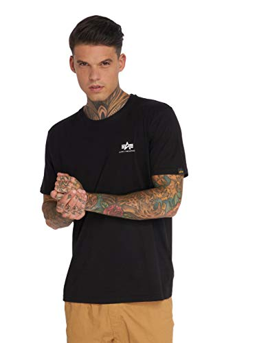 ALPHA INDUSTRIES Herren Basic T Small Logo T-Shirt, Negro, X-Large