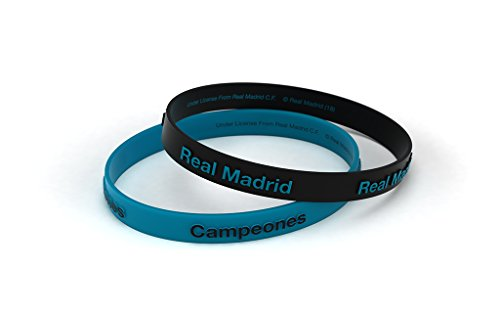 "Real Madrid Club de Fútbol Silikon-Armband, Reliefaufdruck ""Real Madrid"", Blau / Türkis, Standardgröße für Herren, offizielles Produkt"