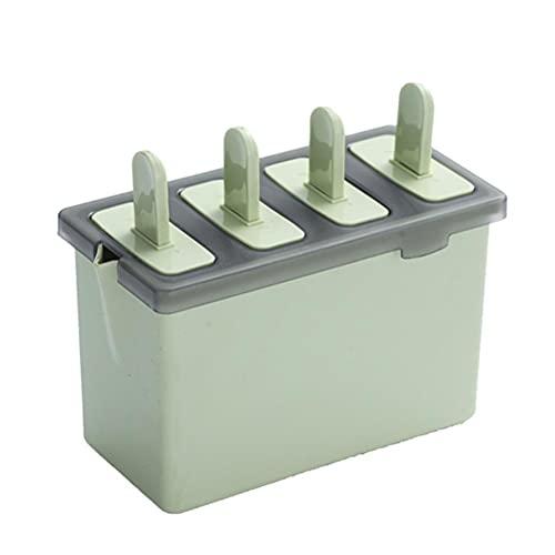 PEPENE Molde de hielo con 4 celdas, moldes para paletas de hielo congelado, molde reutilizable para helado, fácil liberación con palos, para niños, suministros de cocina de yogur, verde cuadrado