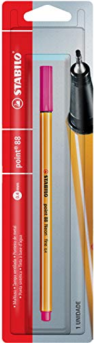 Caneta Hidrográfica, Stabilo, Point 88, 46.9601, 0.4 mm, Rosa Neon