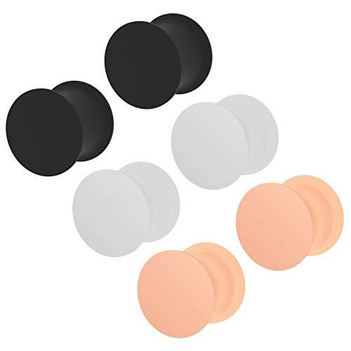 3 paar 00g oor plug huid wit zwart siliconen dubbele flare oorbellen zachte massieve gauges oren tunnel piercing sieraden