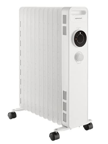 CONCEPT Hausgeräte Radiador de aceite RO3311, 3 niveles de calor, 11 aletas, protección contra sobrecalentamiento, 2300 W