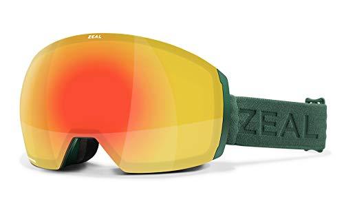 Zeal Optics Portal XL - Rahmenlose Ski- & Snowboardbrille für Damen & Herren, OTG Ready - Pinie mit Optimum Phoenix Mirror Lens