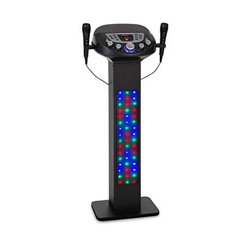 auna KaraBig Lightup Karaokeanlage, Bluetooth-Funktion, 2 x Handmikrofon, Multicolor LED-Lichtshow, Tablet-Halterung, LED-Display, USB-Port, 40 W RMS / 640 W Peak Power, Build-In Lautsprecher
