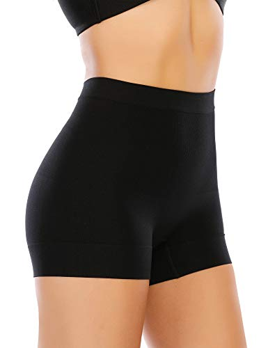 Womens Seamless Shaping Boyshorts Panties Tummy Control Underwear Slimming Shapewear Shorts (Medium, Black-Light tummy control)