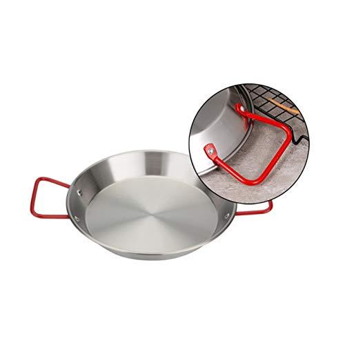 Paella de acero inoxidable Pan marisco fríe olla sin palanca fritura cocina frito pollo plato de fruta herramienta de cocción wok (Color : 21CM)