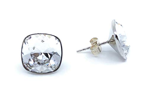 Pendientes cuadrados 100% Plata de Ley y baño de rodio con cristales Swarovski Elements®, pendientes ligeros para mujer
