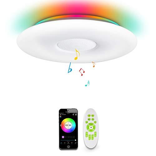 OFFDARKS WIFI LED Lámpara de techo compatible con Amazon Alexa Google Assistant, altavoz Bluetooth, brillo ajustable, luz de color, aplicación y remoto, para sala de estar, dormitorio, sala de niños