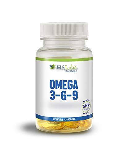 HSLabs OMEGA 3 6 9 Fischöl Kapseln Hochdosiert Ohne Zusätze Essentielle Fettsäuren Molekular Destilliert für Höchste Reinheit und Frische Fish Oil Mit Vitamin E (30 Softgels)