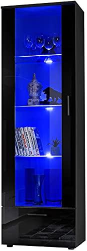 ExtremeFurniture T40 Mueble para TV, Carcasa en Negro Mate/Frente en Negro Alto Brillo + LED Azul
