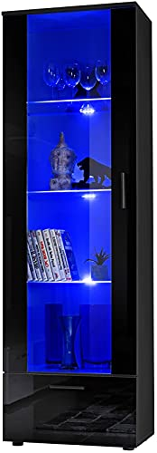 ExtremeFurniture T40 Vitrine, Carcasse en Noir Mat/Façade en Noir Brillant + LED Bleues