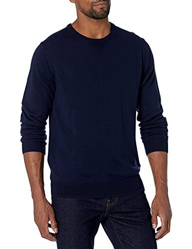 Amazon Brand - Goodthreads, maglione girocollo da uomo in lana merino, Blu (navy), US L (EU L)