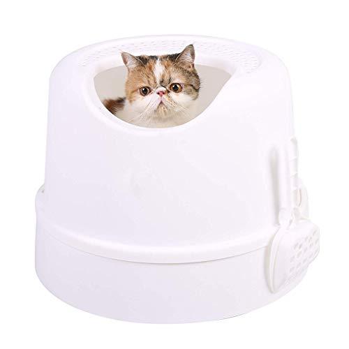 Maomaogougou huisdier benodigdheden Top ingang kat nest doos lade met deksel en schep, Kleur: wit