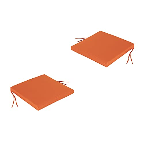 Edenjardi Pack 2 Cojines para sillas de jardín Color Naranja | Tamaño 44x44x5 cm | Repelente al Agua | Desenfundable | Portes Gratis
