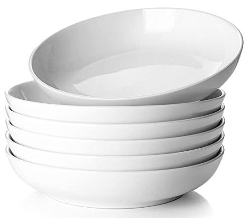 DOWAN Pasta Bowls 32oz, Large Salad Serving Bowls, White Pasta Bowl Set of 6, Ceramic Soup Bowls, Wide & Shallow, Microwave & Dishwasher Safe