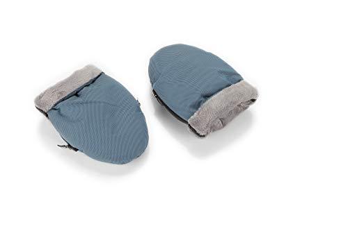 Manoplas para carro de bebé color azul con interior gris| Guantes de protección contra el frío y lluvia de carro de bebé | Manoplas impermeables de invierno para pasear con el bebé