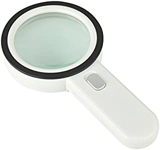 Extra Large 30X Magnifying Glass with 12 Bright LED Lights, Handheld Lighted Magnifier,4.1 Inches Oversized Illuminated Magnifying Glass with Light