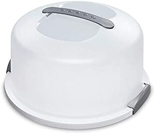 Cake Carrier/Storage Container With Server Holds up to 12 inch 3-layer cake, White Gray Translucent Dome - Transports Cakes, Pies, or Other Desserts (1)