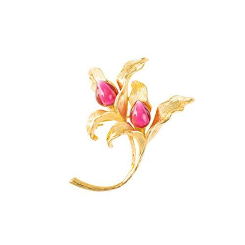 broche LF- Amatista de Cristal del Lirio Gama Alta Elegante Escudo Pin Retro Accesorios de la Rebeca del suéter decoración (Color : Gold, Size : 43 * 55mm)