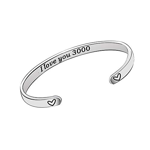 YONGHUI I Love You 3000 Marvel Avenger Fans Birthday Christmas Jewelry Gifts Stainless Steel Adjustable Cuff Bangle Bracelets For Men Women Family Friends Silver