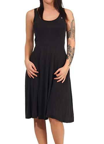 Ragwear Trisha Damen,Kleid,Sommerkleid,Tank Top Kleid,ärmellos,vegan,Rundhalsausschnitt,Seitentaschen,Black,S
